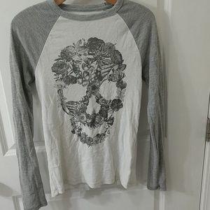 Worn Aeropostale Long Sleeve Floral Skull Shirt